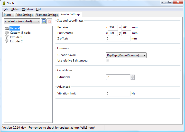 how to change bed size in repetier firmware